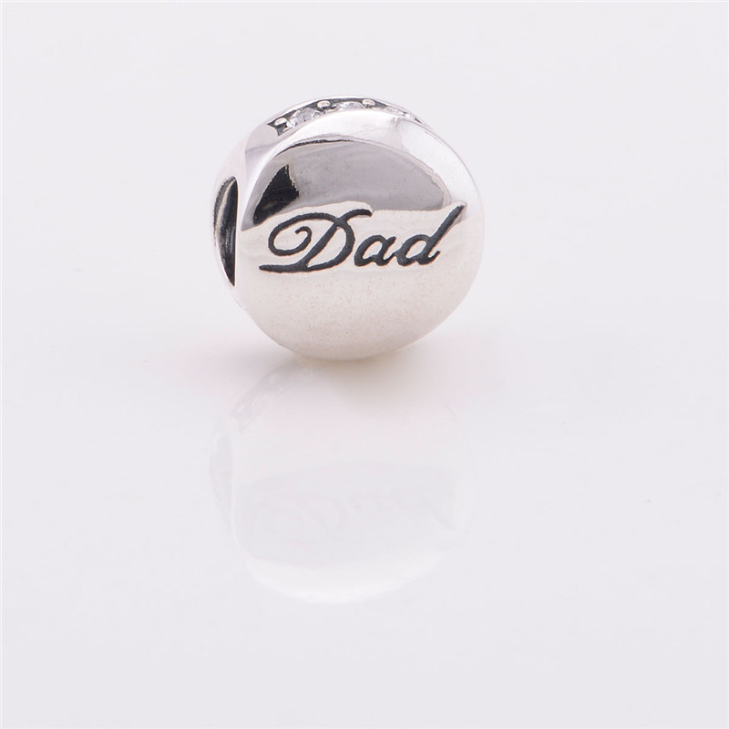 100% 925 Sterling Silver Note Dad Charms Bead Ball Fits European Style Jewelry Charm Bracelets &amp; Necklaces Free Shipping<br><br>Aliexpress