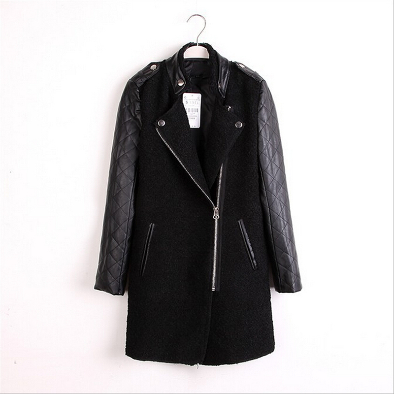 Free shipping women's casual classic fashion PU leather sleeves stand-up collar coat jacket coat for woman size S~L(China (Mainland))