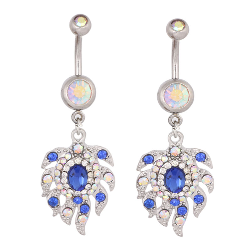 2015 New Style Fire Blue Dangle Women Navel Bar Button Ring Belly Body jewelry - JK Jewelry Factory store