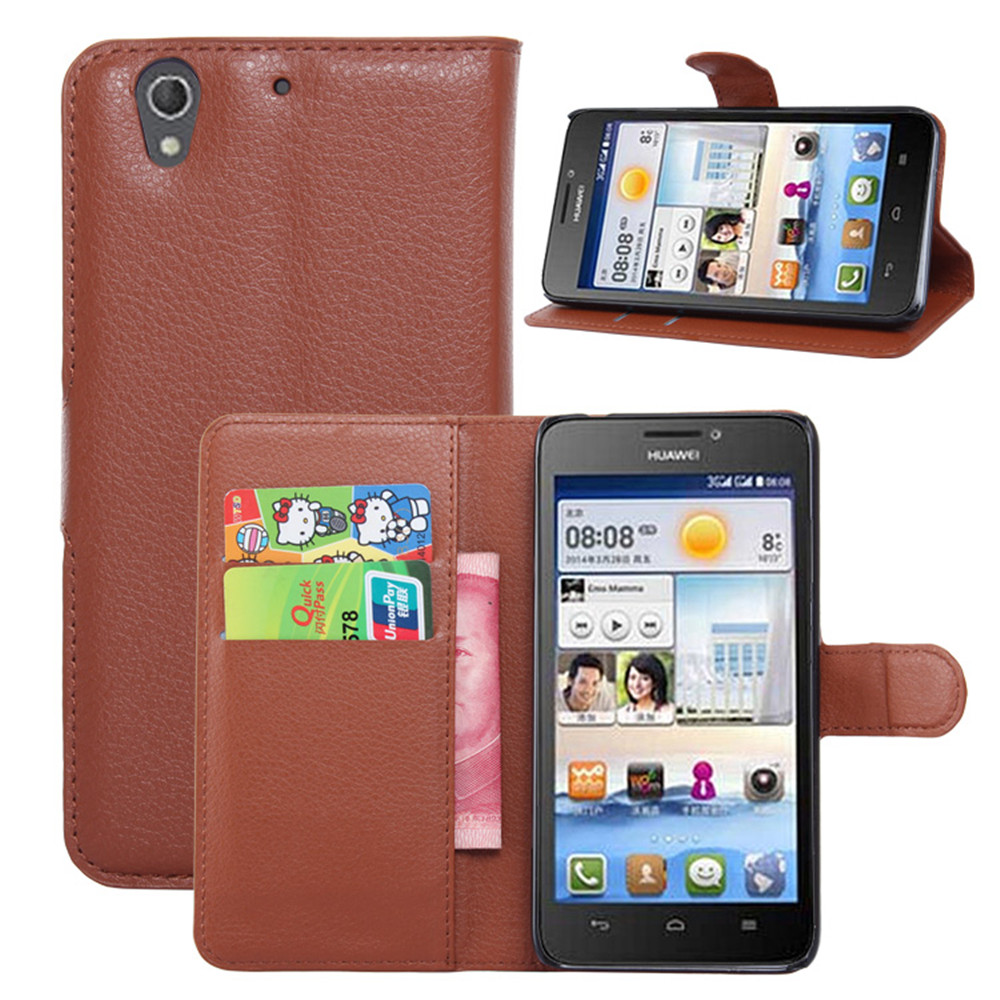 G630 Case Fashion Lychee Print PU Leather Case For Huawei G630 Card Holder Wallet Stand Flip Phone Shell Cover(China (Mainland))