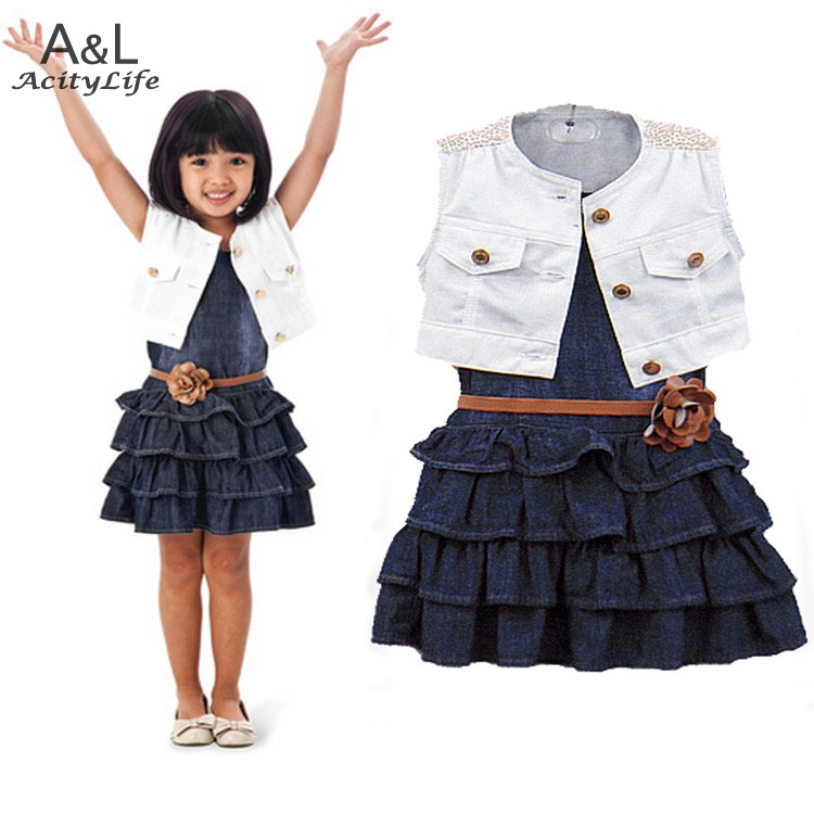 2015 Baby Girl Kids Casual Dress Outfit Clothes Cotton Jacket + Denim Layered Toddler tutu Dress for girls with belt 36(China (Mainland))