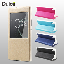 Buy Cover Sony Xperia XA1 Ultra Leather Cases View Window Cross Texture Flip Leather Cover Case Sony Xperia XA1 Ultra Cover for $6.71 in AliExpress store