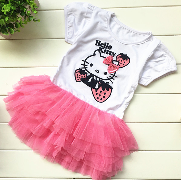 Girls Dresses, cartoon strawberry party dress tutu veil bow Children's summer short-sleeved kids - Anna Baby's store