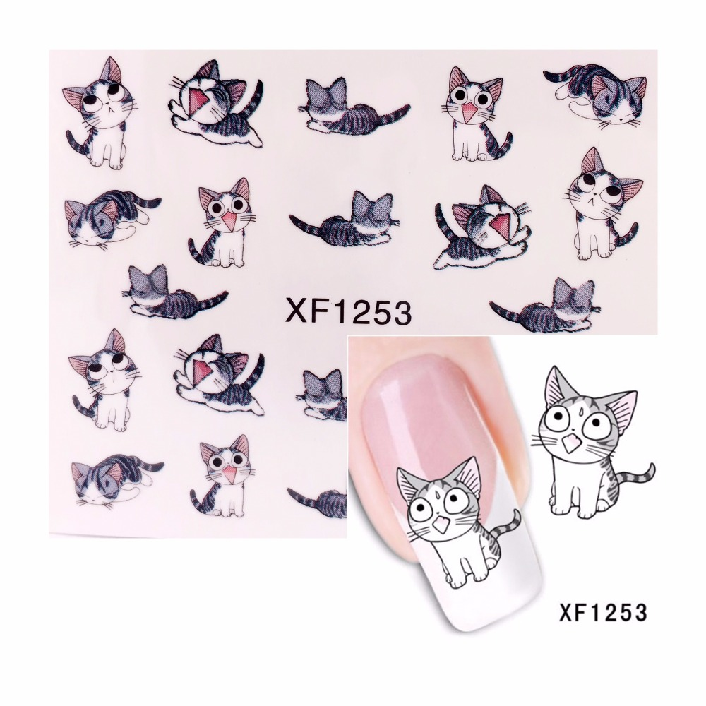 ZKO 1 Sheet Cute Cat Pattern Nail Sticker Water Decals Nail Art Water Transfer Stickers Nails Tools For Nails 1253(China (Mainland))