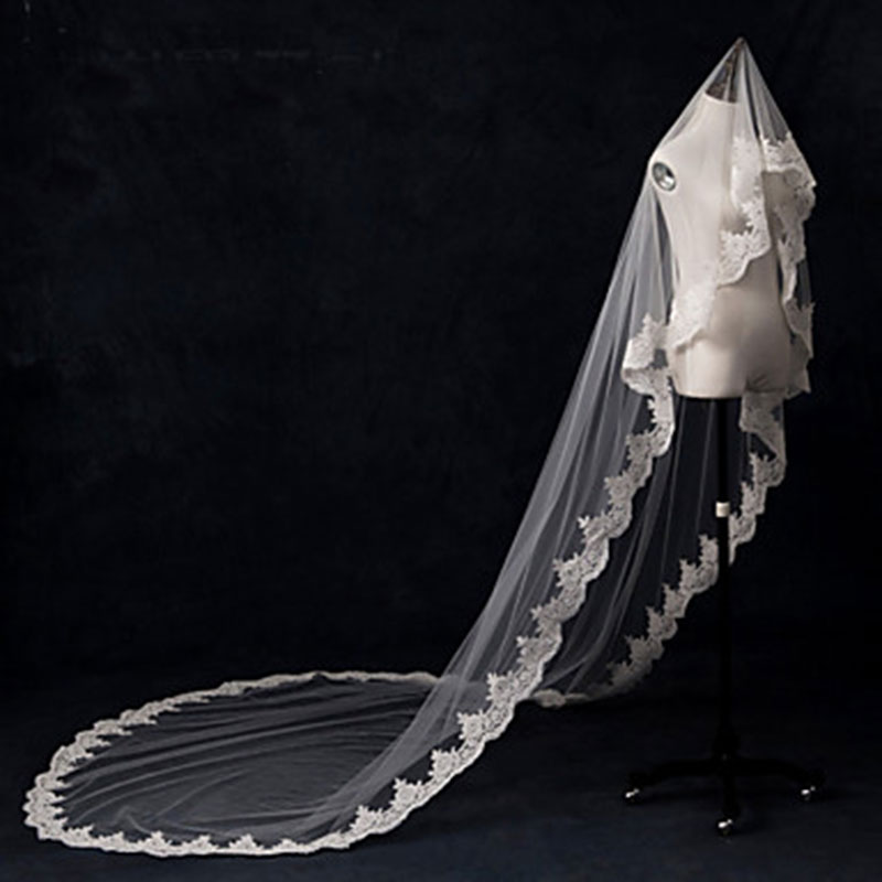 Elegant Lace Wedding Veils Tulle Fabric White Cheap Romantic One-tier Cathedral Bridal Veils Lace Applique Edge with Fake Pearl(China (Mainland))
