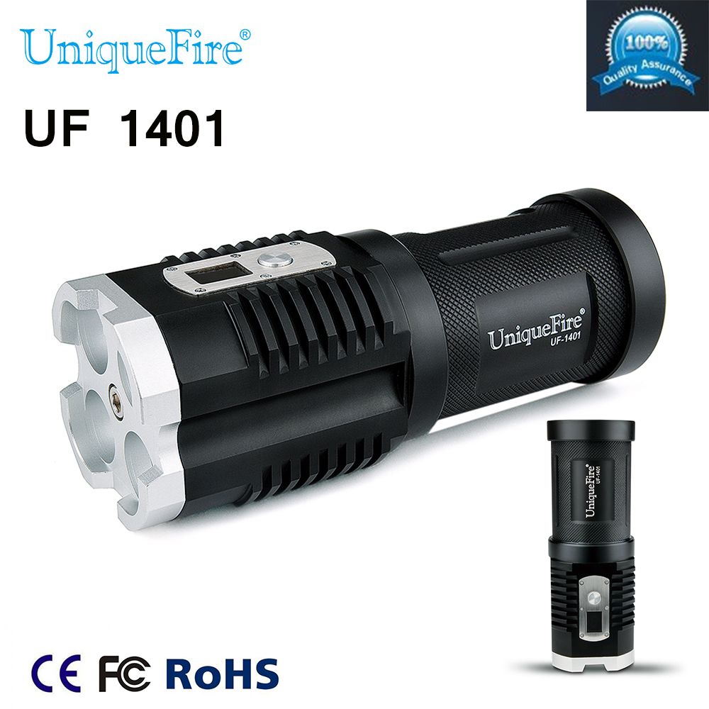 Uniquefire UF-1401 XM-L2 Flashlight 4*LEDs 4000LM 5 Modes Digital Display Strong Torch Light For Camping Hiking free shipping(China (Mainland))
