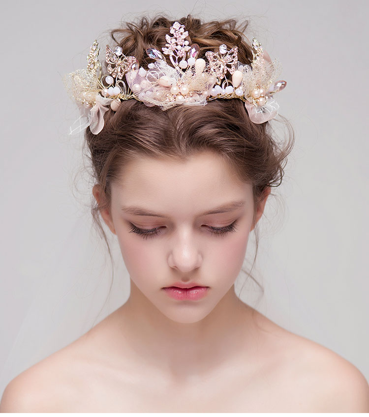 luxury gold pink crystal tiaras wedding hair accessories bridal jewelry high quality rhinestone crowns 646(China (Mainland))