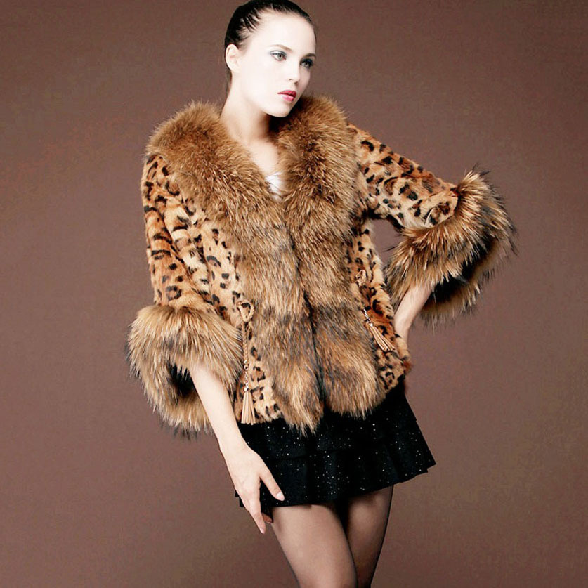 winter warm women rabbit fur jacket sleeve short coat Big Raccoon Fur Collar natural real Leopard Color female outwear - Small Word store