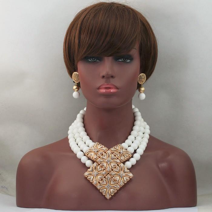 Сказочный 3 Слоя Белый Коралл Африканские Набор Ювелирных Украшений Из Бисера 16 ММ Бисер Набор для Женщин Мода Золотой Кулон, Колье CNR631