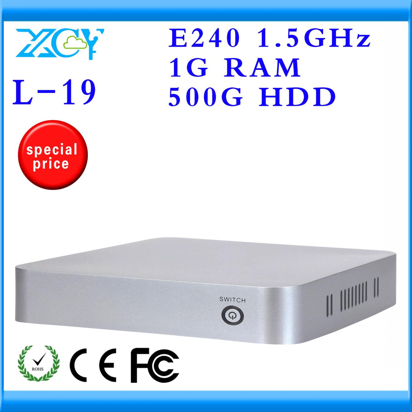 XCY Brand HD Video Terminal thin client embedded pc AMD E240 single core 1.5GHZ 500G Support WIN7 Linux Windows XP Ubuntu PC(China (Mainland))