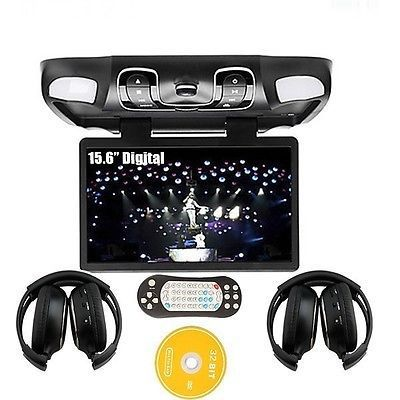 "Black 15.6"" Car Roof Mount DVD Player Drop Down Monitor Games IR Headphones New Free Shipping(China (Mainland))"