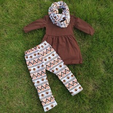 FALL OUTFITS  girls 3 pieces sets with scarf girls thanksgiving  pant sets girls boutique clothes kids brown top sets(China (Mainland))