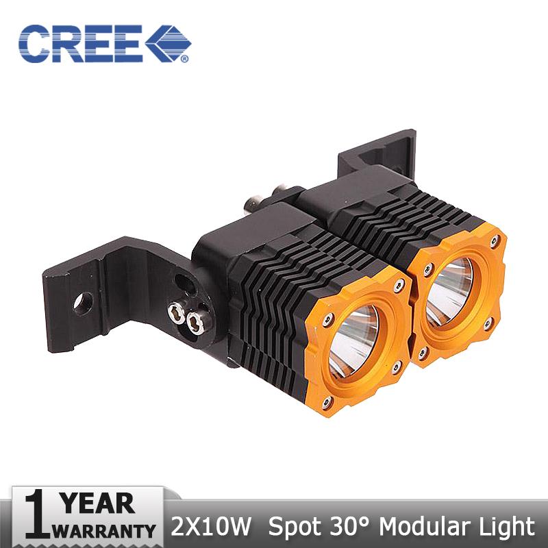 2x10W CREE LED Light Bar Offroad Led Work Light Spot Beam Driving Fog Lamp for Jeep Ford Pickup 4x4 ATV SUV 4WD Truck DC12V 24V(China (Mainland))