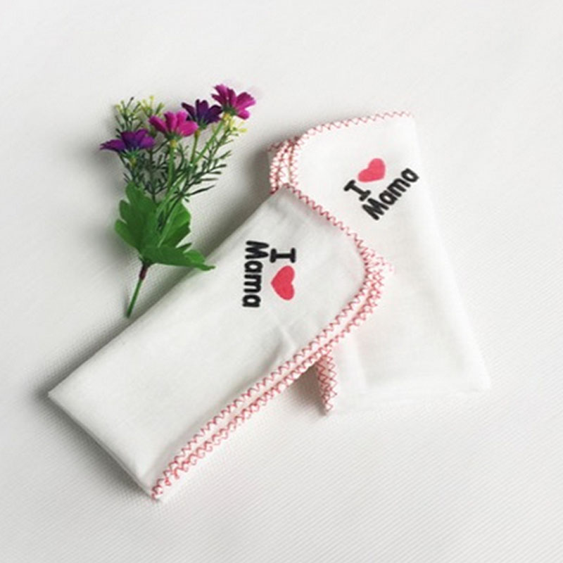 5pcs/ lot Free Shipping I Love Papa Mama Cute Cotton Bids Baby Girl Boy Towel Lunch Bibs Toddler Bids Burp Cloths TRK0032(China (Mainland))