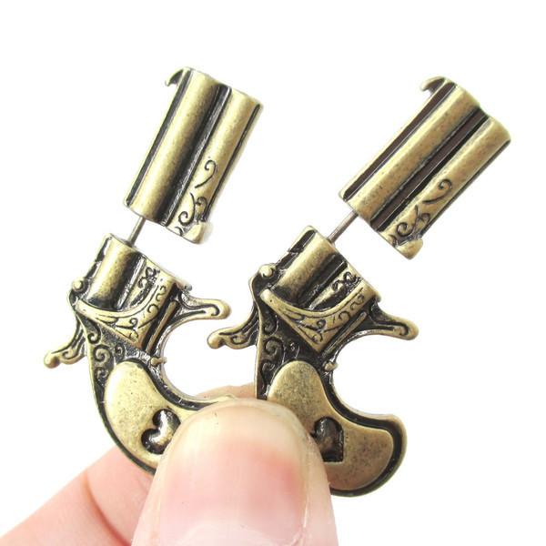 Pistol Gun Shaped  Plug Stud Earrings