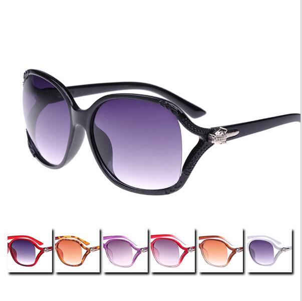 2015 Spring summer Sunglasses Stylish Large Framed Leopard Head Hinges Sun Glasses Women UV400 Pierced Lens Eyewear(China (Mainland))