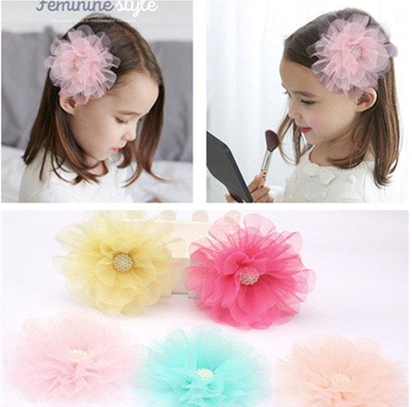 1 PC Big Chiffon Flower Pearl Girls' Hair Clips Kids Side Hairpin Accessories(China (Mainland))