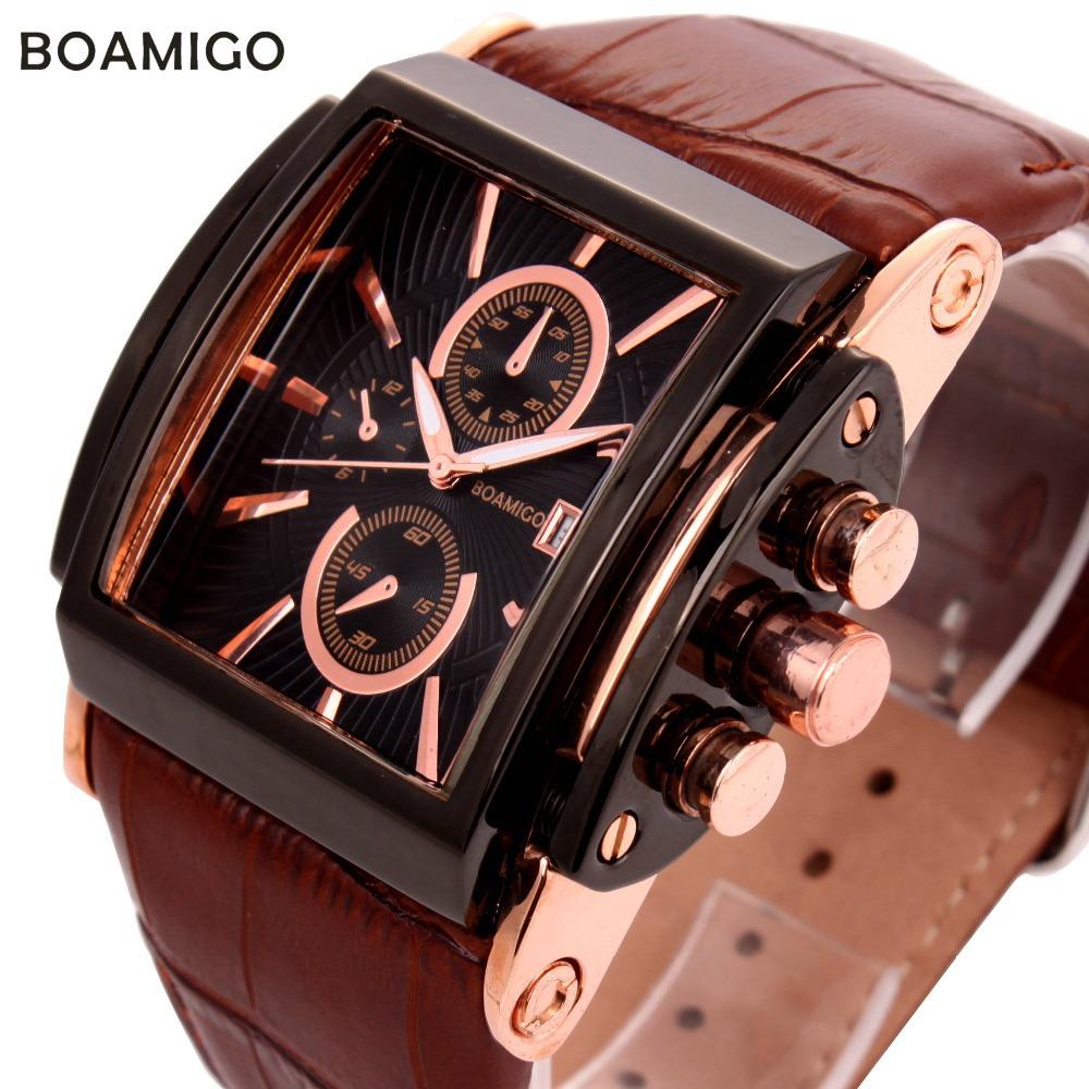 Гаджет  watches men luxury brand BOAMIGO fashion casual sports  military analog quartz watches date genuine leather strap wristwatches None Часы