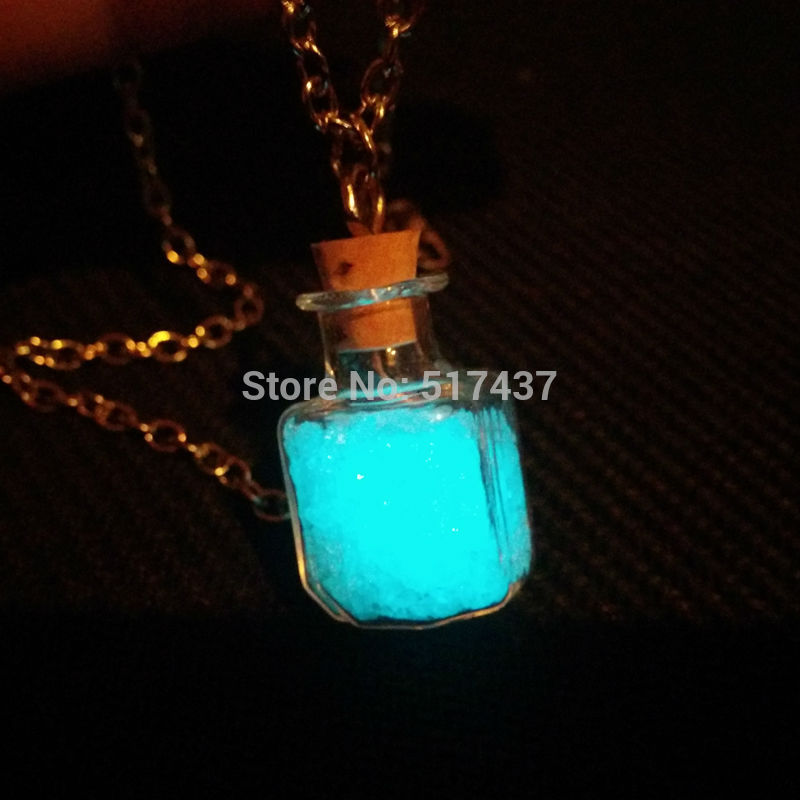 Steampunk bottle necklace Magic Fire Fairy Angel dust pendant charm Glow in the dark bottle vial Aqua(China (Mainland))