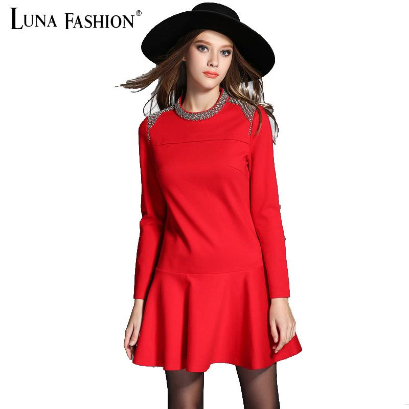 5XL 4XL 3XL 2XL European plus size women clothing 2015 autumn punk rivet long sleeve dress red black elegant ladies dresses