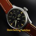 2016 fashion watch Parnis 47mm Power Reserve Sandblast Case Leather Analog Automatic mechanical Mens Watch