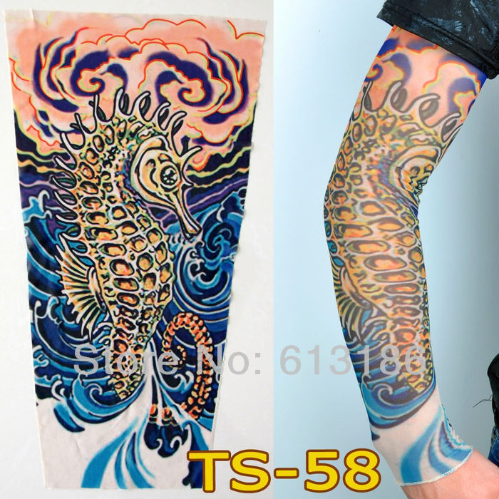 Free Shipping 2015 New Fashion Sea Horse Animal Fake Temporary Tattoo Sleeves Arm(China (Mainland))