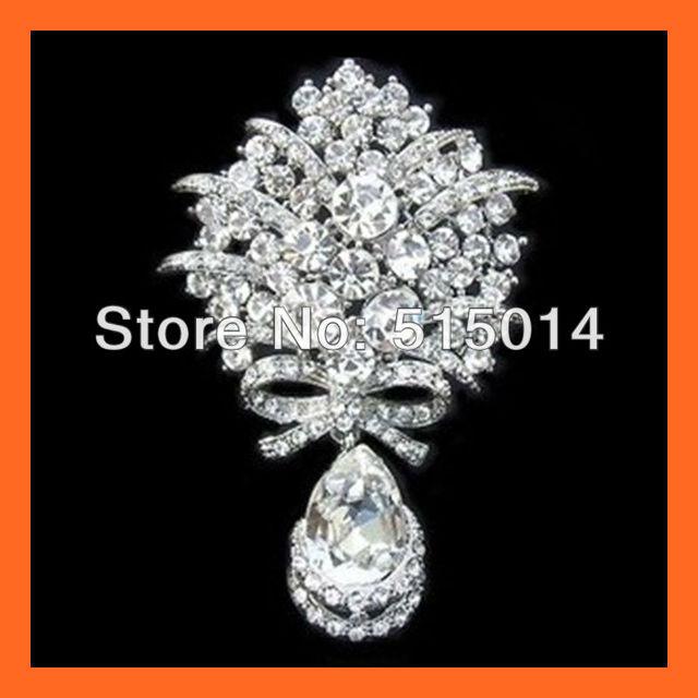Free Shipping ! Waterdrop Crystal Rhinestone Embellishments,Rhinestone Bouquet Pins ,Accessories Pin,Rhinestone Brooch Pin