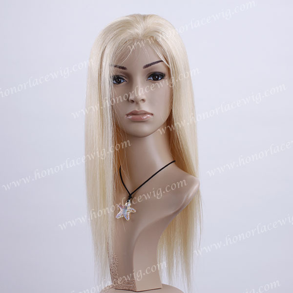full lace wigs pu thin skin around Blonde hair 100% Chinese remy hair in high quality #22 white color 18 inches silk straight(China (Mainland))