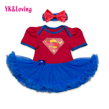 New Style Newborn Dress Baby Clothes Girls Superman Blue Rompers  Ruffle Toddler Tutu Dresses Girl Party Clothes for Birtthday(China (Mainland))