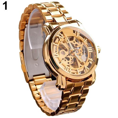 2015 Hot Mens Retro Roman Numerals Hollow Skeleton Golden Tone Wristwatch Mechanical Watch