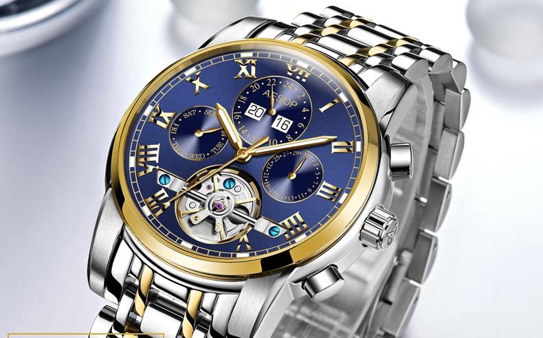Роскошные tourbillon часы мужчины золото Нержавеющая сталь Автоматические механические Сапфир водонепроницаемый многофункциональные часы relogio masculino
