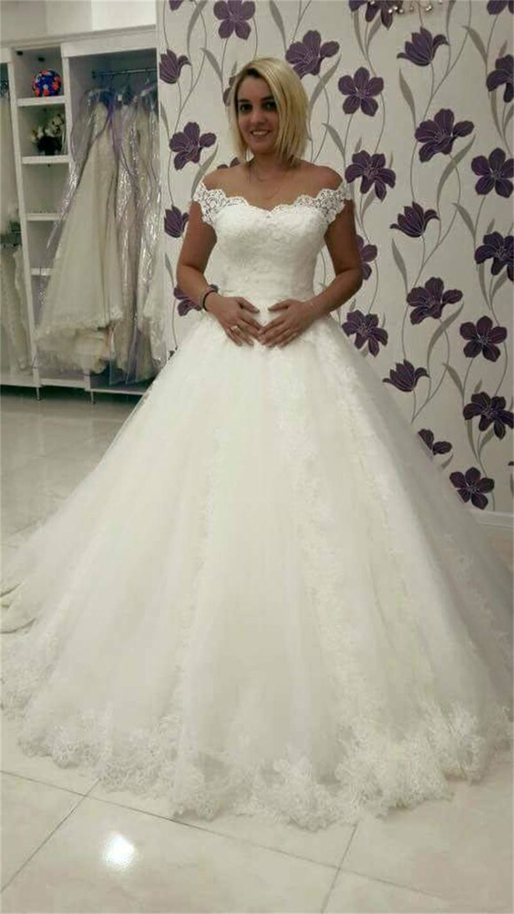 Bride dress 2015 robe de mariage tulle scoop court train for Wedding dress no train