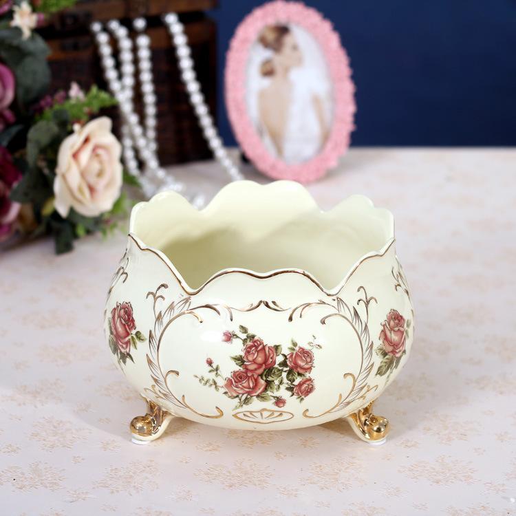 2014 new European classic fruit plate creative wavy ceramic gilt rose Nutshell basket craft manufacturers wholesale<br><br>Aliexpress