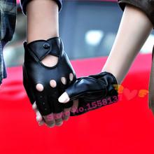 Free Shipping 2015 Fashion Half Finger Driving Women Men Gloves 1 Pc PU Leather Fingerless Gloves For Women Men black red white