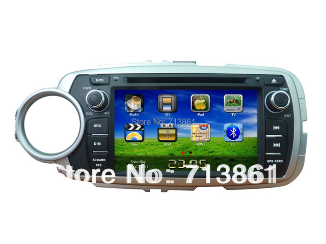 7 inch fit for Toyota Yaris 2012 2 Din car dvd player,GPS Navigation,wince 6.0,free map,BT,TV,phonebook,RDS,radio,Russian menu
