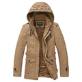 Real High Quality Men In Winter Jacket Pure Color Hooded Cotton Padded Clothes Foreign Trade Long
