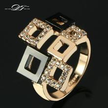 Classic plaid Austrian Crystal Ring Wholesale 18K Rose Gold Plated Fashion Brand Jewelry For Women anel aneis joias  New DFR091