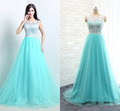Lighe Blue Lace Long A Line Prom Dresses 2015 For Women Formal Occasion Wedding Party Bridal