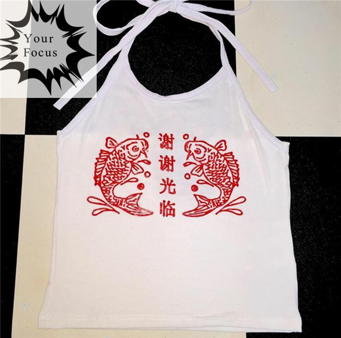 2016 sexy omighty unif vintage style red Chinese carp Chinese Welcome letters printed cropped white halter crop tops women tops(China (Mainland))