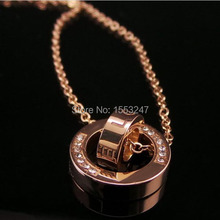 Free shipping ( 5 pieces/lot ) Luxury Rhinestone necklace High quality Rose gold necklace Elegant Lover necklace(China (Mainland))