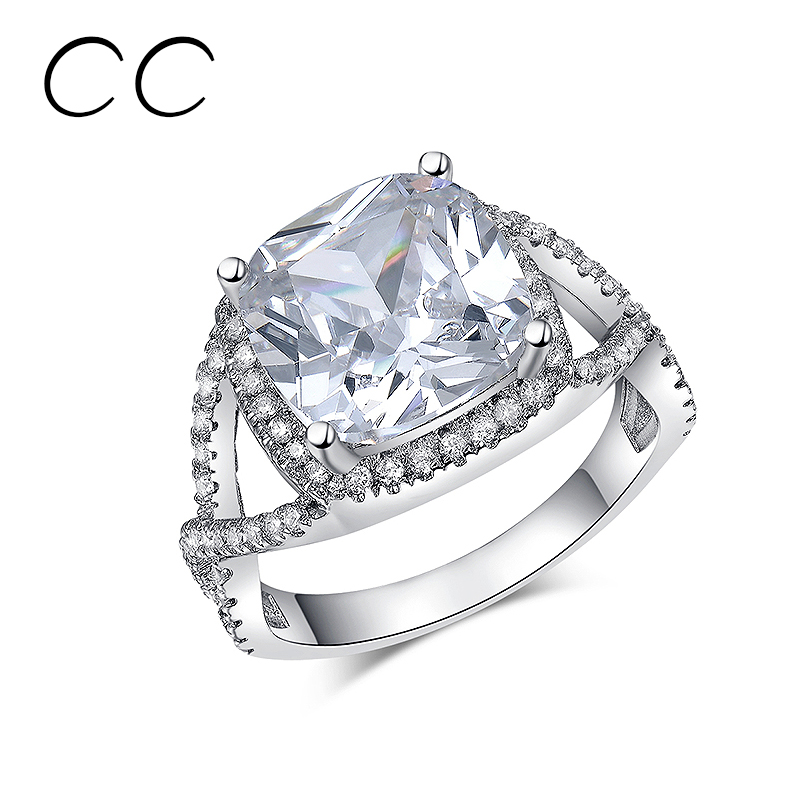 Excellent Design Big Created Diamond Rings For Women Shine Stone Engagement Party Jewelry Ring Bijoux Femme 2016 Midi Ring CC164(China (Mainland))