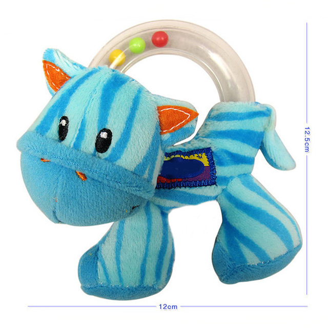 New 1pc Baby Toy Cute Plush Rattle Baby Holding Animal Toy Ring Balls Early Educational Hand Training