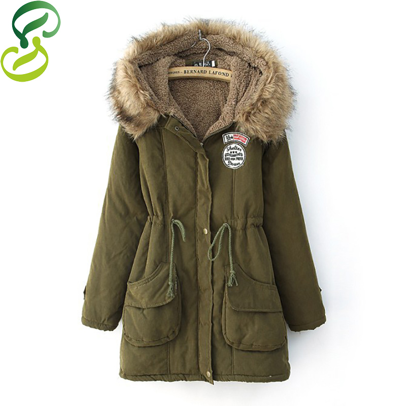 2016 Thickening Warm Winter Fur Collar Jackets Women New Women's Long Parka Plus Size Army Green manteau femme - Davince Clothing Store store