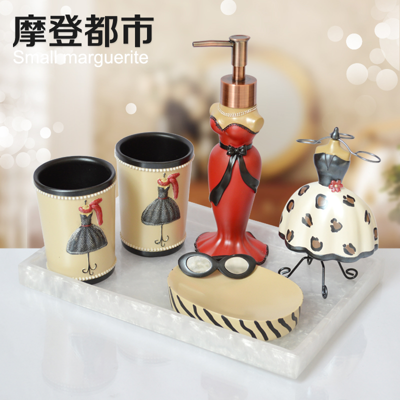 Creative Cups Five-piece bathroom suite with teeth Continental Cups bath wash suit wedding gift(China (Mainland))