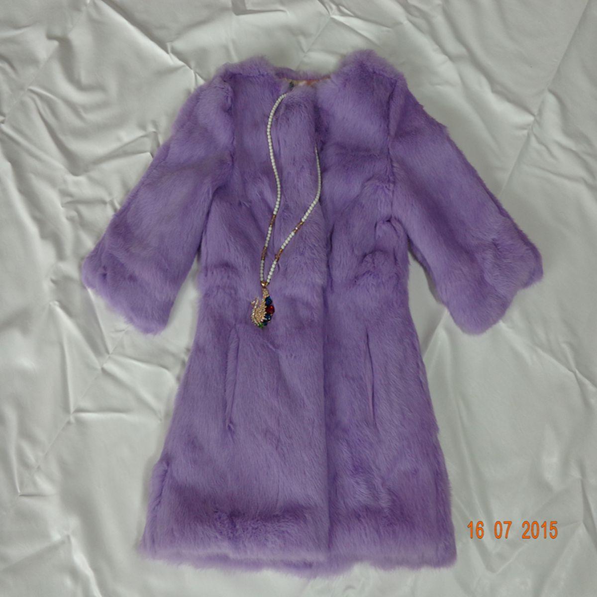 Winter 2015 new slim leather jacket whole hair long female short fur vest lady rabbit