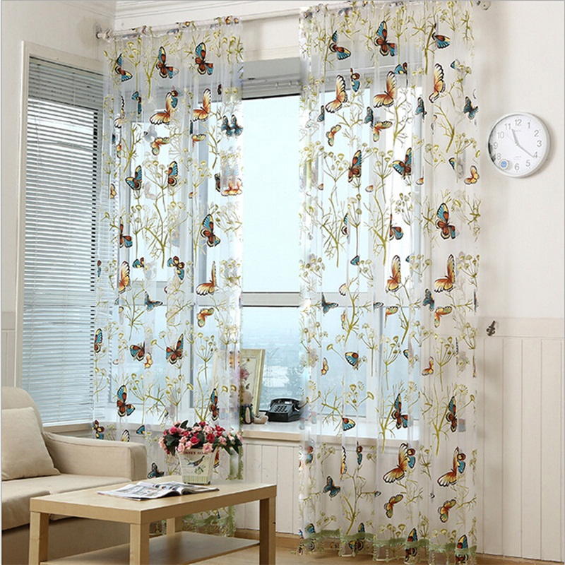 Butterfly Curtains Tulle Window Curtains For Living Room Bedroom Kitchen Curtains Embroidered