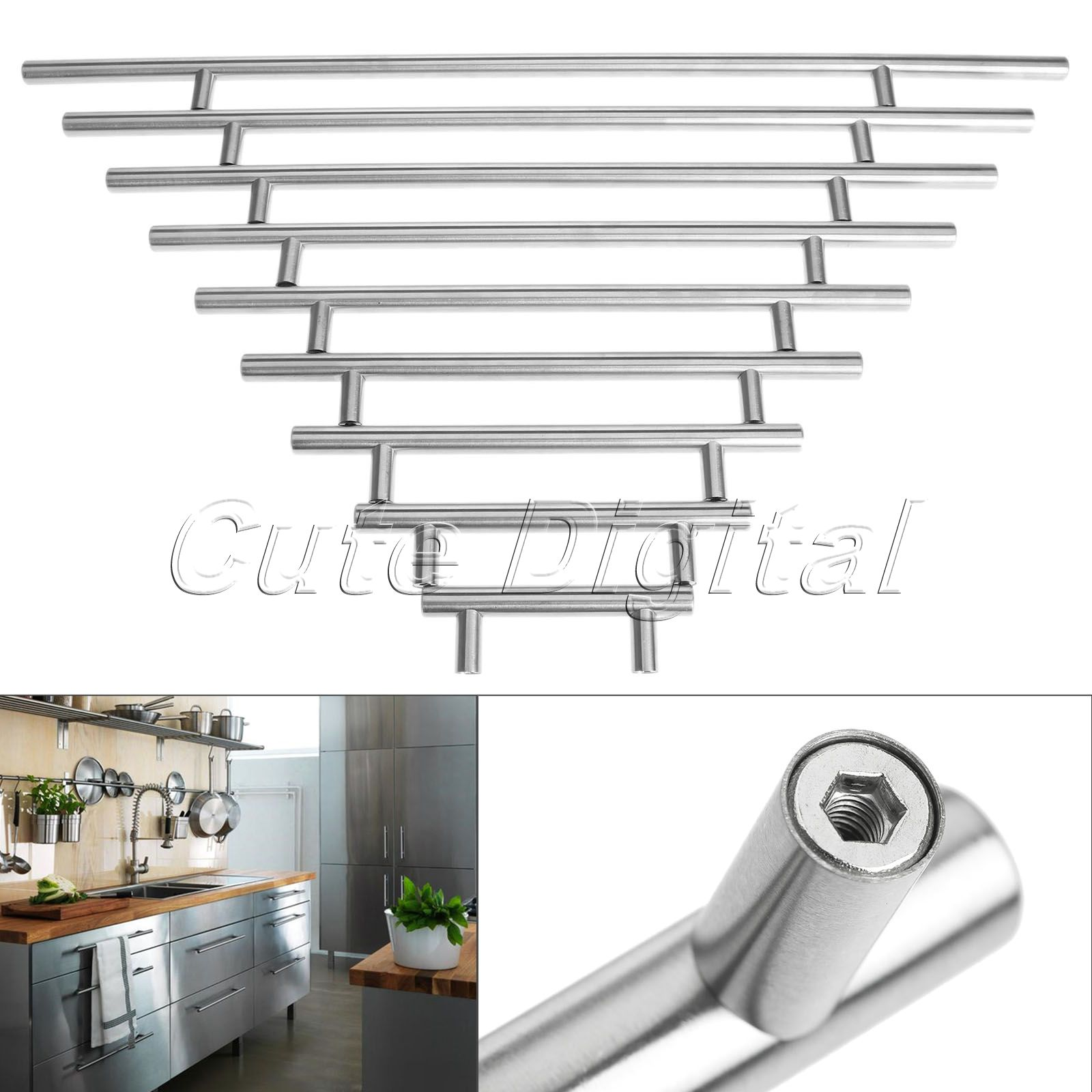 Stainless steel t bar furniture handles door kitchen for Bar handles for kitchen cabinets