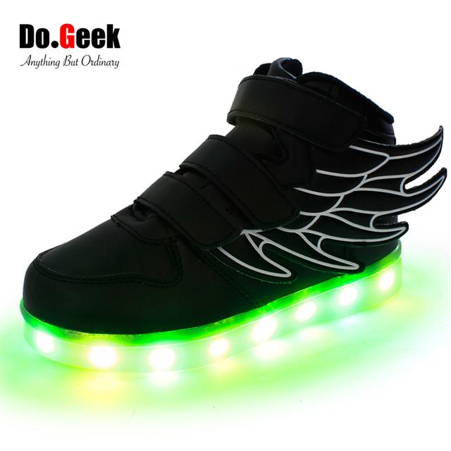 DoGeek Мальчики Led Shoes Крыло Кроссовки Высокий Верх Свет Zapatos Девушки Chaussure Enfant Lumineuse Кроссовки EUR размер 25-37