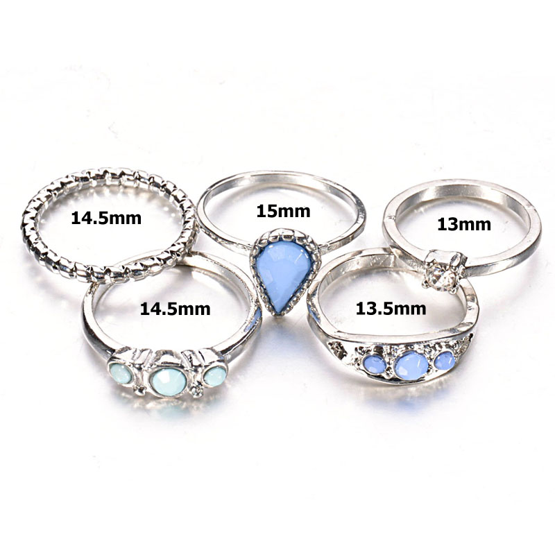 Bohemian 5 PCS Vintage Silver Rings Sets Antique Faux Blue Stone Midi Finger Rings for Women Turkish Ring Knuckle anelli Anillos(China (Mainland))