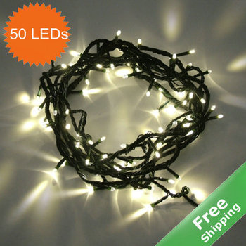 Solar christmas string light+  100% Solar powered+50  LED bulbs+Free shipping